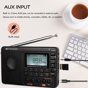 Image 5 - RETEKESS V115 Radio AM FM SW récepteur Radio de poche ondes courtes FM haut parleur Transistor récepteur TF carte USB REC enregistreur temps de sommeil