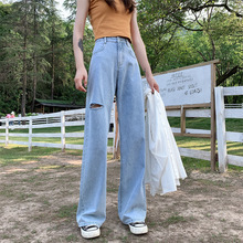 Mom Jeans Cargo-Pants Loose High-Waist Wide Baggy Women Denim Full-Length Hole New
