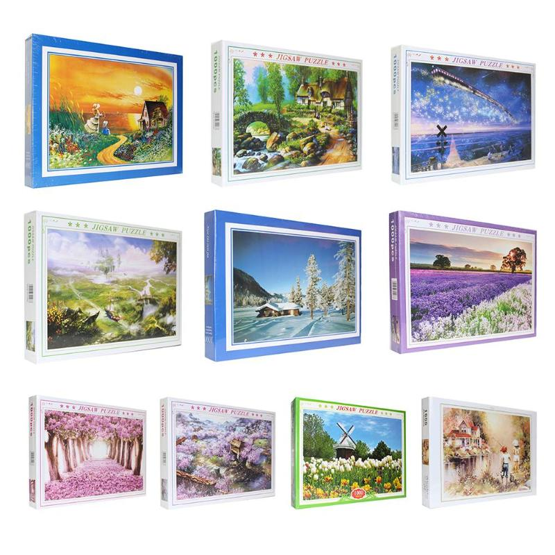 1000 Pieces Puzzles High-quality Adults Kids Scenery Picture Educational Assembling Jigsaw Kids Birthday Party Best Gift