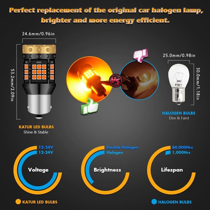 Image 4 - 2pcs NO Hyper Flash 1156 BA15S P21W BAU15S PY21W T20 7440 Led Bulb Turn Signal Light Lamps Amber Orange Canbus Error Free LedsSignal Lamp   -
