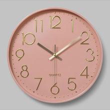 Horloge murale en plastique, silencieuse, 12 pouces, 30CM, mode créative, décoration de maison, rose, vert