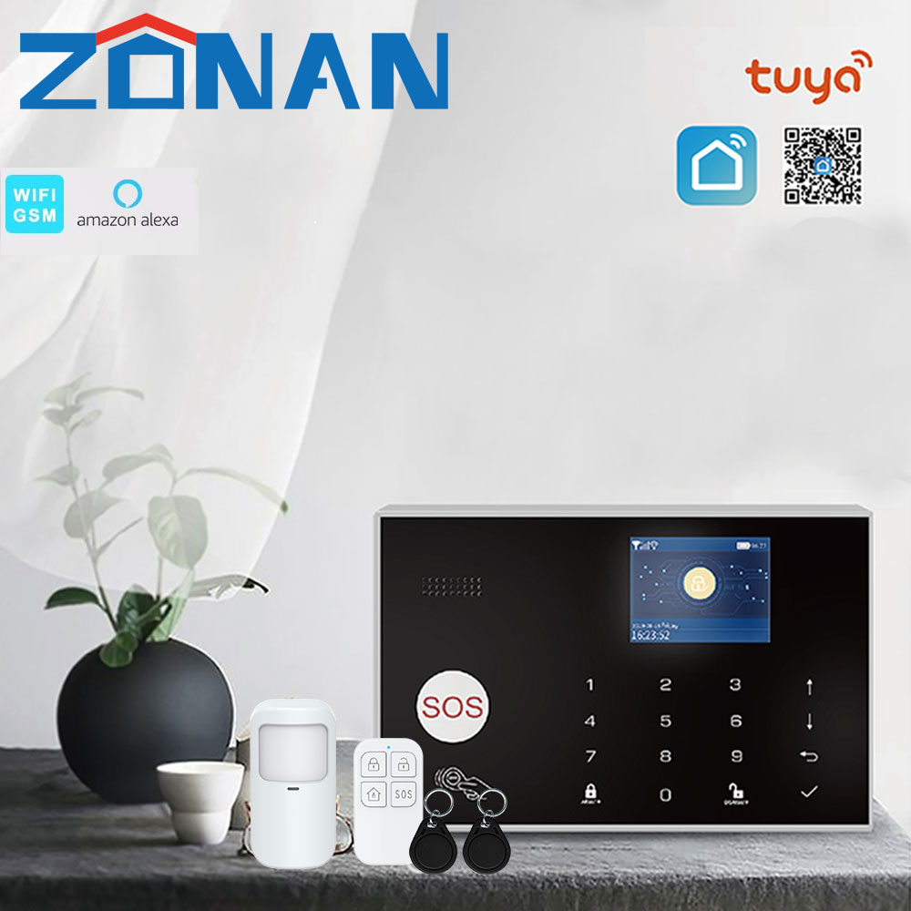 Sicherheit Alarm System Wifi Tuya Gsm Hause Einbrecher 433MHz Apps Steuer Mit Motion Sensor Detektor 11 Sprachen Wireless Alarm kit