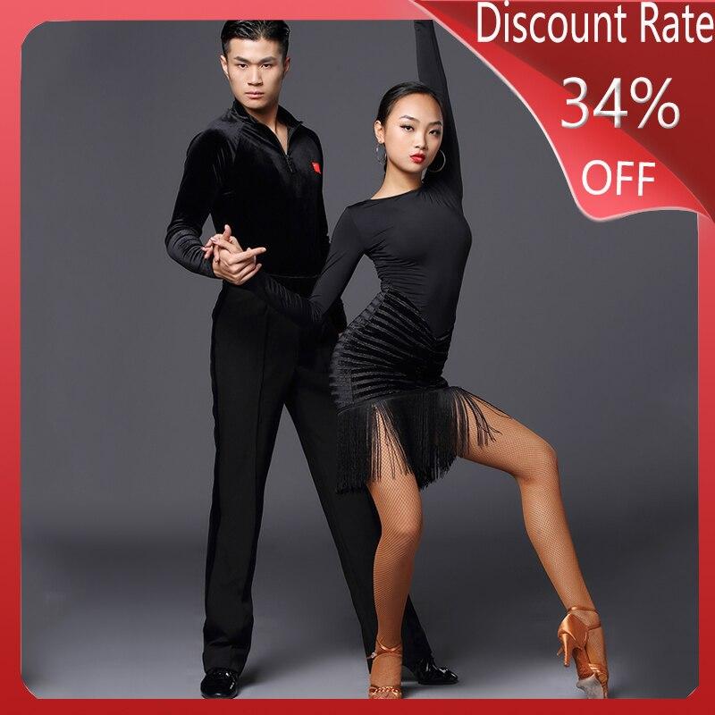 Latin Dance Dress Women Black Fringe Dress Dance Costume Latin Dance Competition Dresses Performance Robe Danse Wear DQS3675