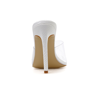 Image 5 - Pzilae Size 41 42 PVC woman shoes slip on fashion sandals square toe slides ladies high heel slippers pumps shoes party pumps