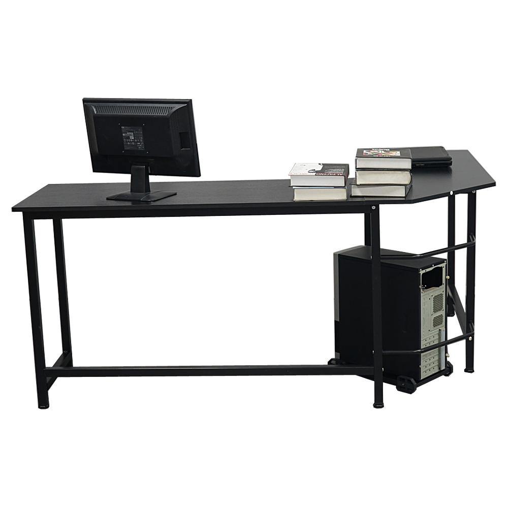 【US Warehouse】L-Shaped Desktop Computer Desk Black(Computer Desk Table)