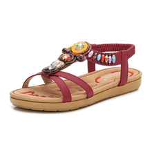 Women Sandals 2020 Fshion Flat Bohemian Beach Shoes Ethnic Casual Crystal Ladies Sandals For Women Summer Ladies Shoes Bohemian bohemian sandals for women wedge shoes crystal decoration grey army green shoes ladies cute casual shoes rhinestone sandals