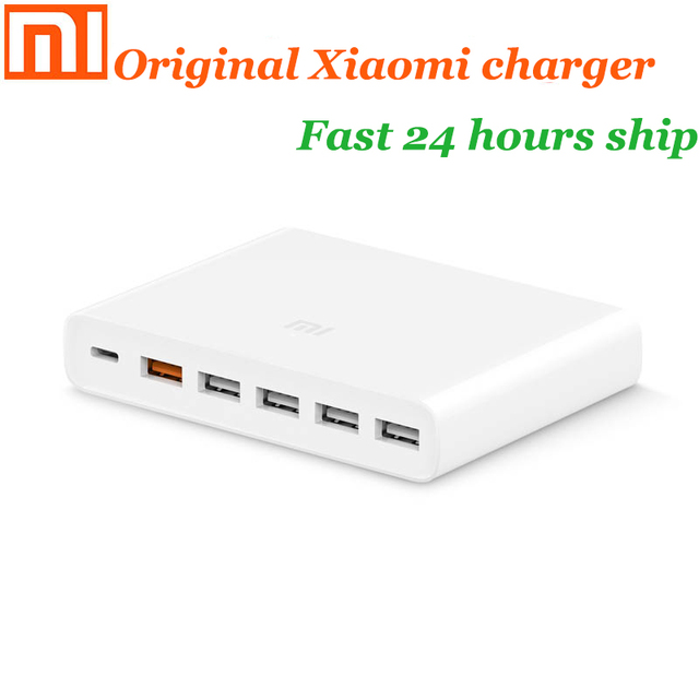 Original xiaomi USB charger 60W smartphone pad charging output 1 Type C 6 port 5 USB A dual QC 3.0 fast charging 18W x2 adapter