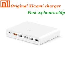 원래 xiaomi USB 충전기 60W 스마트 폰 패드 충전 출력 1 Type C 6 포트 5 USB A 듀얼 QC 3.0 고속 충전 18W x2 어댑터