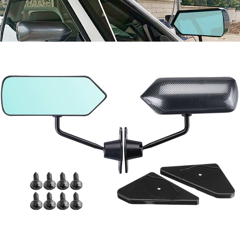 2Pcs Car Racing Universal Side Rear View Mirror Wide Angle Metal Bracket For Ma Zda 3/For Miata/Mx5/RX7