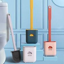Escova de vaso sanitário de silicone com suporte de escova de toalete criativo conjunto de escova de limpeza de plástico macio escova de punho longo escova de toalete