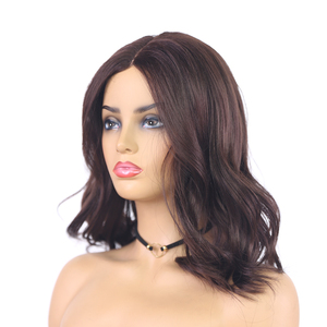 Image 3 - Medium Brown Natural Wave Synthetic Lace Part Wigs For Women X TRESS Shoulder Length Ombre Color Heat Resistant Fiber Hair Wigs