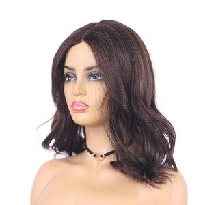 Image 3 - בינוני חום טבעי גל סינטטי תחרה חלק פאות עבור נשים X TRESS כתף אורך Ombre צבע חום עמיד סיבי שיער פאות