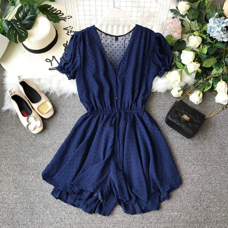 H55fca7f2089644d7bf1efe37a43aece2q - Candy Color Elegant Jumpsuit Women Summer Latest Style Double Ruffles Slash Neck Rompers Womens Jumpsuit Short Playsuit