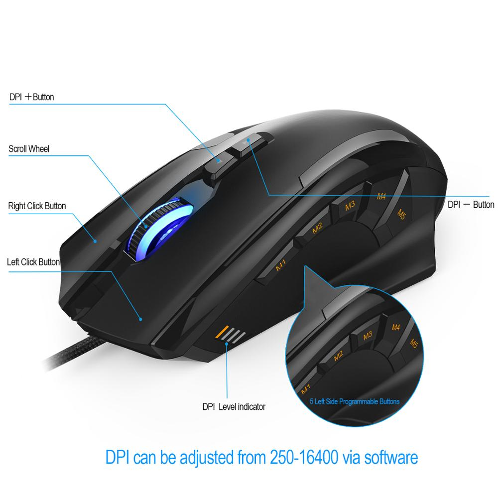 Image 5 - TeckNet 16400DPI Gaming Mouse M009 Laser Mouse 10 Programmable Macro RGB Backlight 3 LED Light Modes Wired MMO Computer Mice-in Mice from Computer & Office