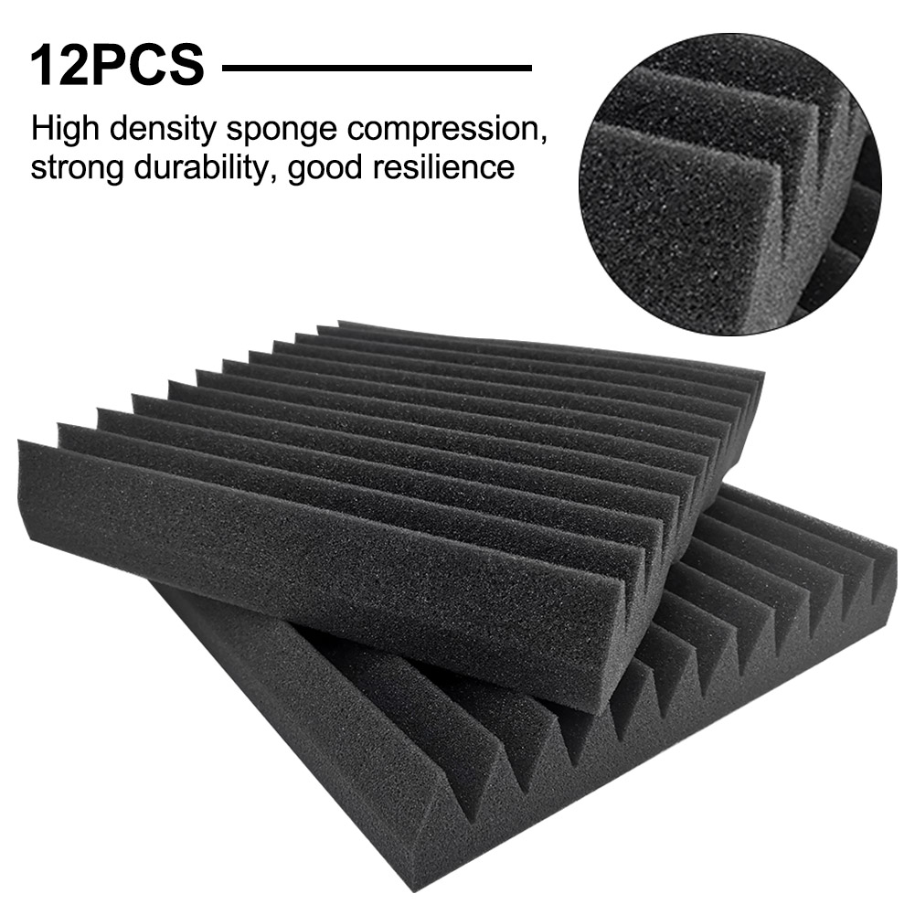 12pcs Studio High Density Acoustic Foam Panels Noise Absorbing Background Sound Proofing Flameproof For KTV Home Kindergarten
