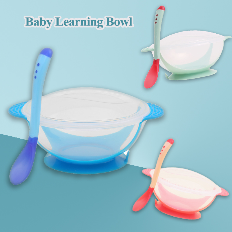 1PC 60ML Baby Learning Bowl With Suction Cup Food Plate Tray Dishes And Spoon And Dinner Bowl Learning For Baby Toddler