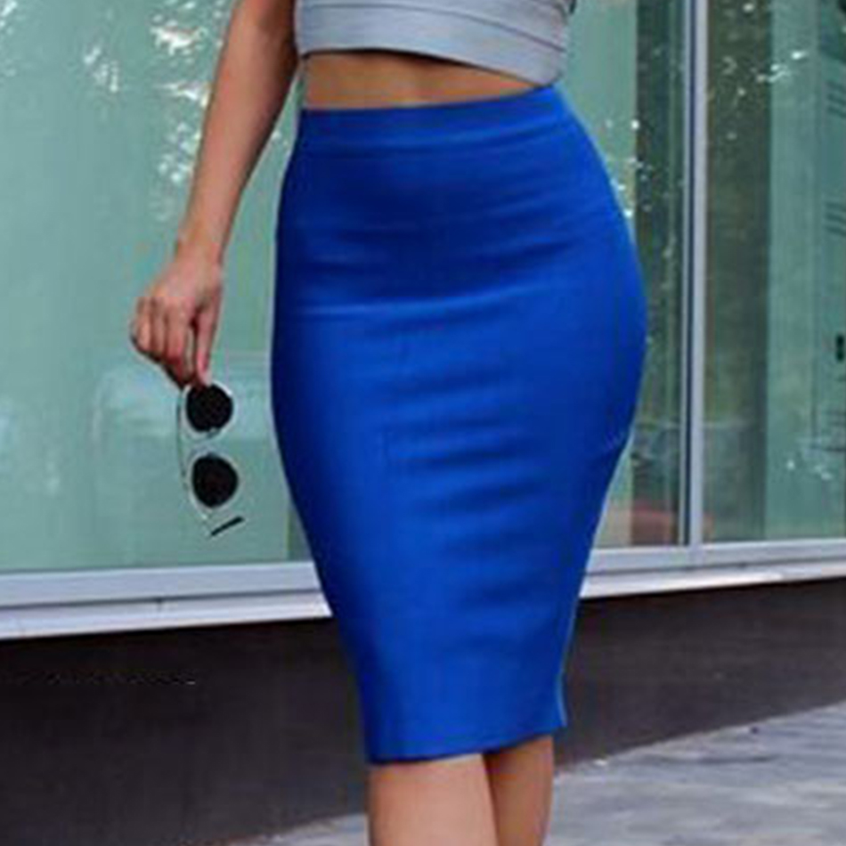 2019 Stretchy Elastic Women Knee Length Celebrity Bandage Skirts Sexy Slim Solid Color Pencil Skirt Drop Shipping HLS113