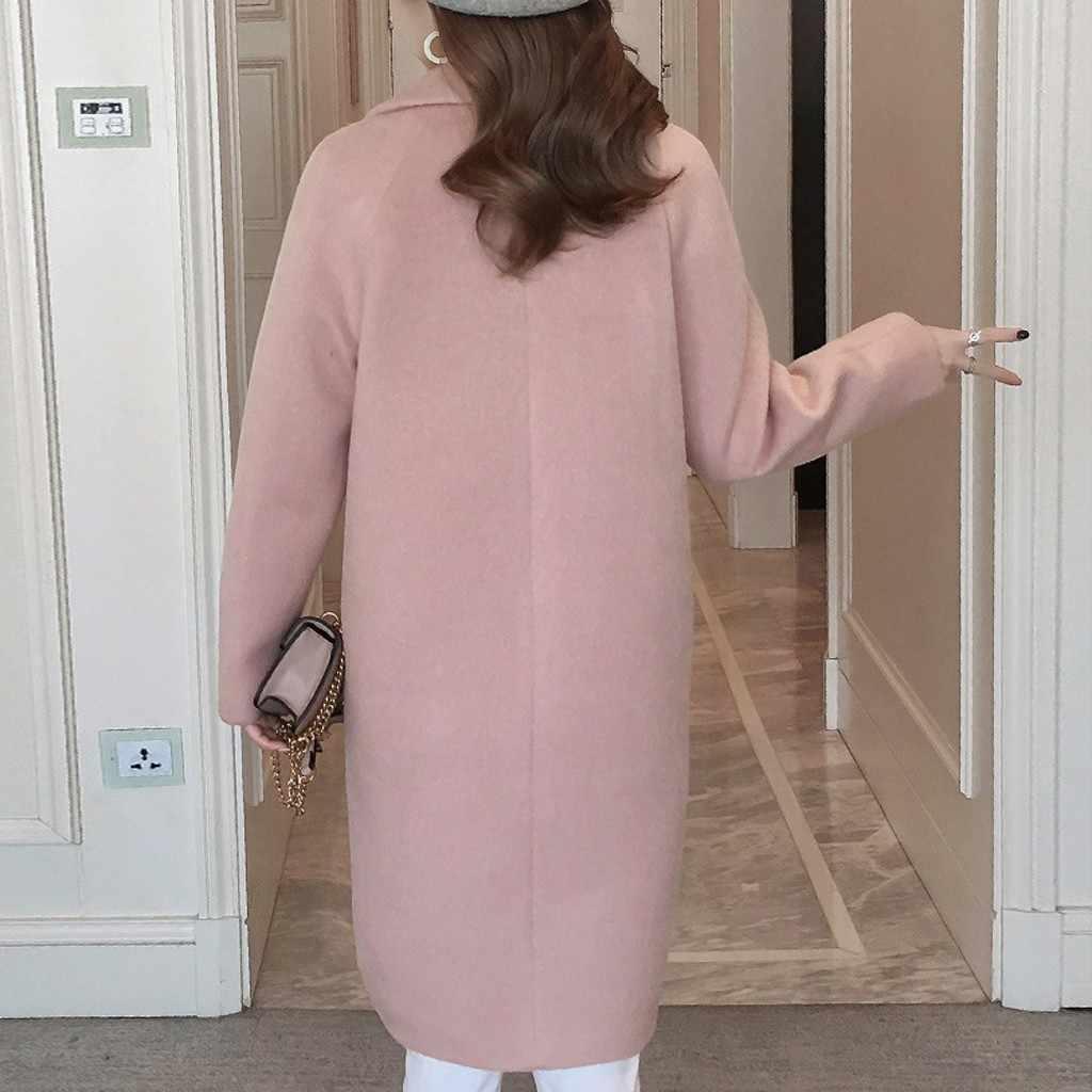Womail Frauen Einfache Büro Mantel Solide Vintage Dicke Warme Winter Mantel Woolen Zweireiher Mäntel Frauen
