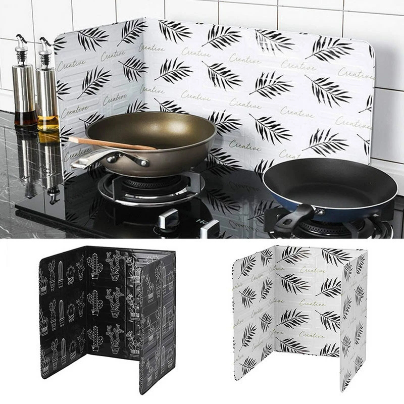 Aluminum Foldable Splatter screen Kitchen Tool Gas Stove Baffle Plate Frying Pan Oil Splash Protection Screen Kichen Cooking Too