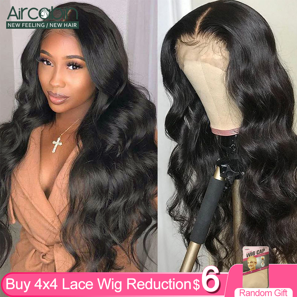 Aircabin 4x4 Lace Frontal Wigs Brazilian Body Wave Human Non-Remy Hair 10-26Inch 150 120Density For Black Women Pre Plucked Wig