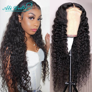 Ali Grace Deep Wave Wigs 13x4 Lace Front Human Hair Wigs with Baby Hair Brazilian Pre-plucked Deep Wave Closure Wig for Women(China)