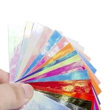 16 PC/Set Holographic Aurora Fire Flame Nail Decals 8.3X6.5cm Colorful Sticker Manicure Stencil Hollow Stickers Decor #NL50