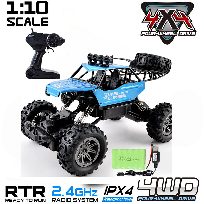 42cm <font><b>RC</b></font> <font><b>Cars</b></font> 1:10 4WD Vehicle Updated Version 2.4G Remote Control Off-Road Trucks Toy Double <font><b>Motors</b></font> Drive for Children Kids Gift image