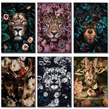 Flower Animal Lion Tiger Deer Leopard Abstract Canvas Painting Wall Art Nordic Print Poster Decorative Picture Living Room Decor