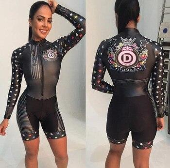 2020 pro equipe triathlon terno feminino camisa de ciclismo skinsuit macacão maillot ciclismo ropa ciclismo manga longa conjunto gel 1