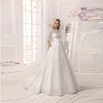 Custom vestido de noiva A-Line Three Quarter Sleeve With Detachable Jacket 2018 Lace bridal gown mother of the bride dresses vestido de noiva longo amazon 2018 v neck half sleeves a line chapel train lace tulle bridal gown mother of the bride dresses