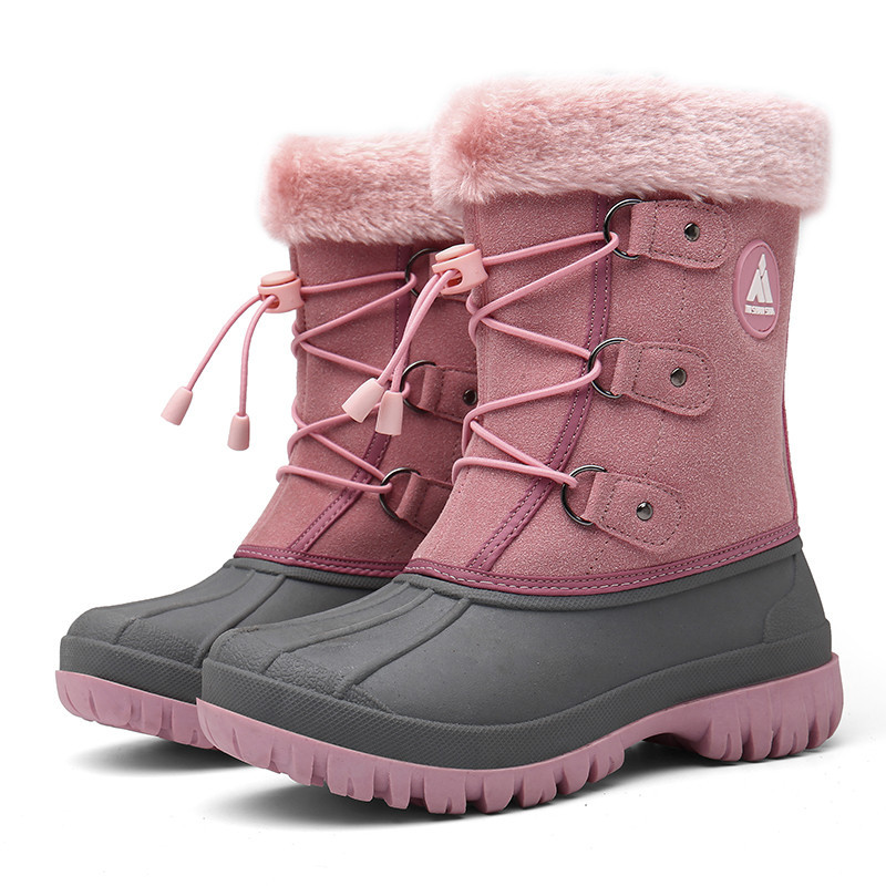 Winter Kids Boots Girls Boots Outdoor Fur Boots Children Boots Boys Platform Shoes Fashion Mid-Calf Booties Girls Winter Shoes