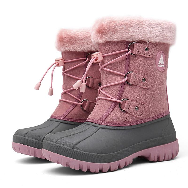 Зимние сапоги для детей, сапоги для девочек, уличные меховые сапоги, детские сапоги, обувь на платформе для мальчиков, модные сапоги до серед...