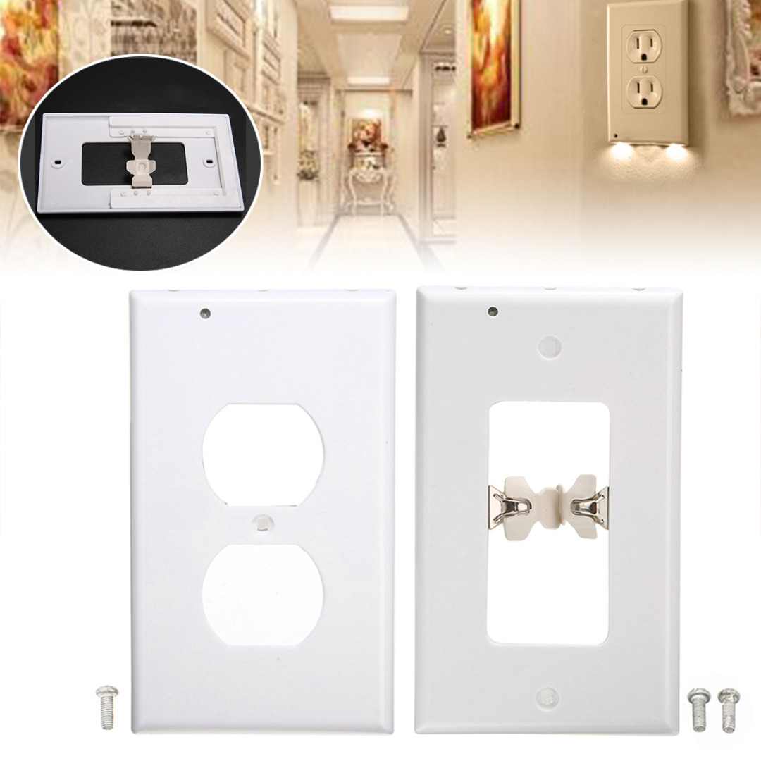 1pcs Wall Outlet Cover Easy To Install Plate Plug Cover LED Lights Bathroom Hallway Corridor Safety Night Light Accessories