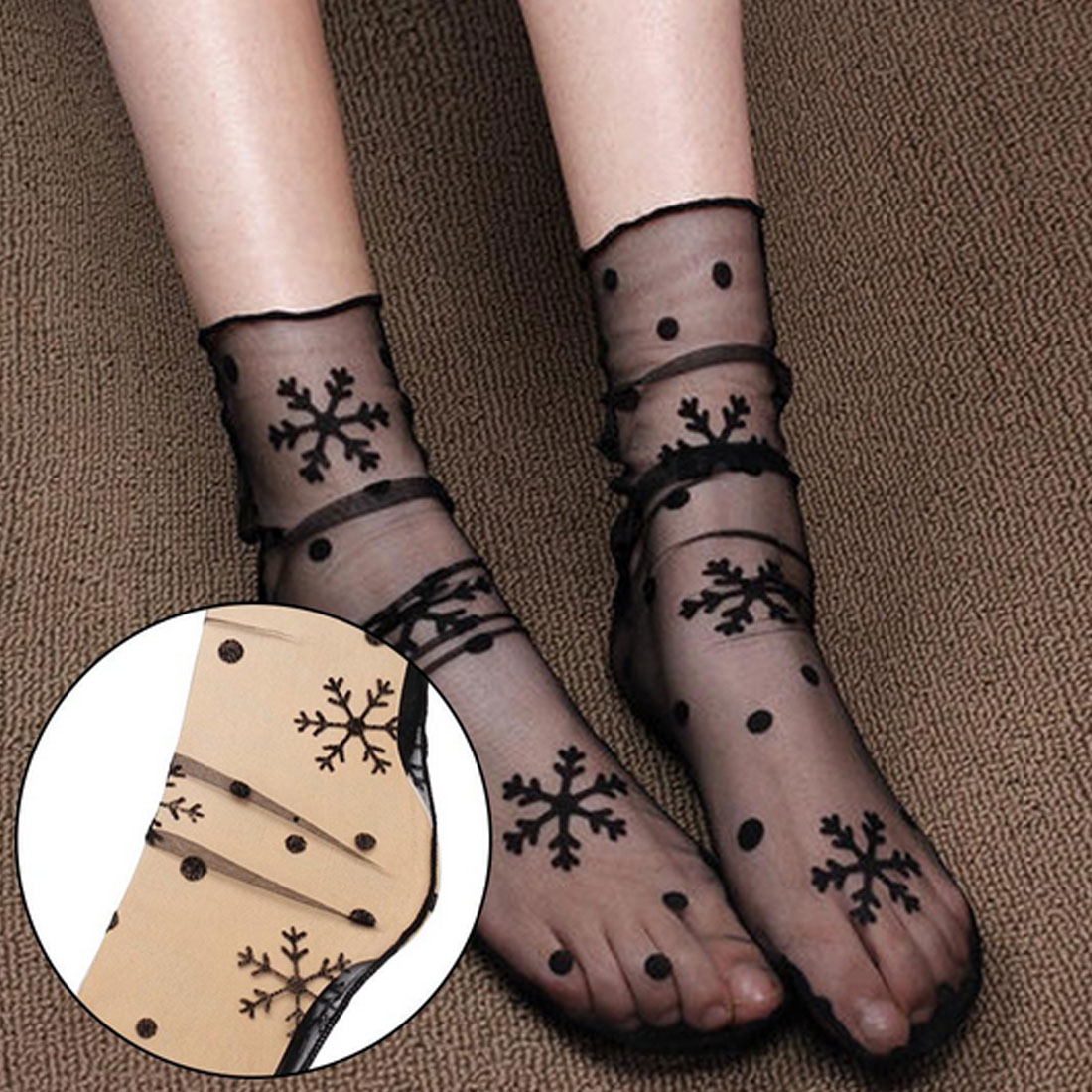 Women's Harajuku Breathable Transparent Mesh Small Polka Dots Socks Lady Net Yarn Fishnet Dots Socks Female Hosiery Sox