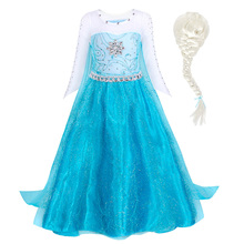 AmzBarley Toddler girls Snow Queen Elsa Princess Dress Halloween Cosplay Costumes Birthday Party Fancy Up For Little Girls