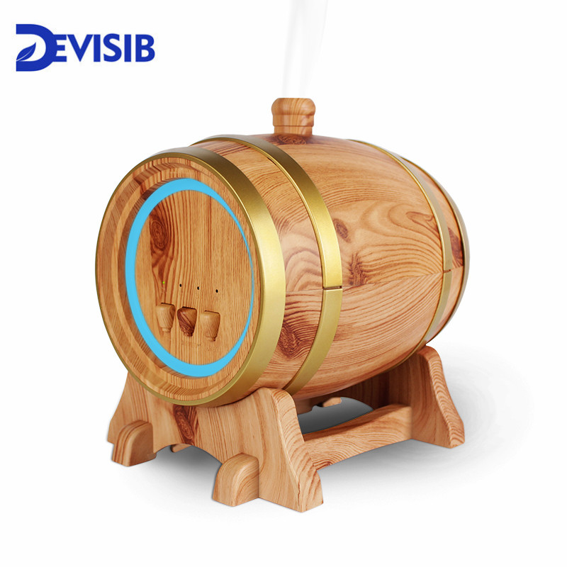 DEVISIB 350ml Aroma Essential Oil Diffuser Wood Grain Ultrasonic Cool Mist Humidifier 7 Color LED Light For Office Home Bedroom
