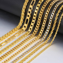 Trendsmax Gold Necklace For Men Women Figaro Rope Cuban Link Chain Necklace Male Collar