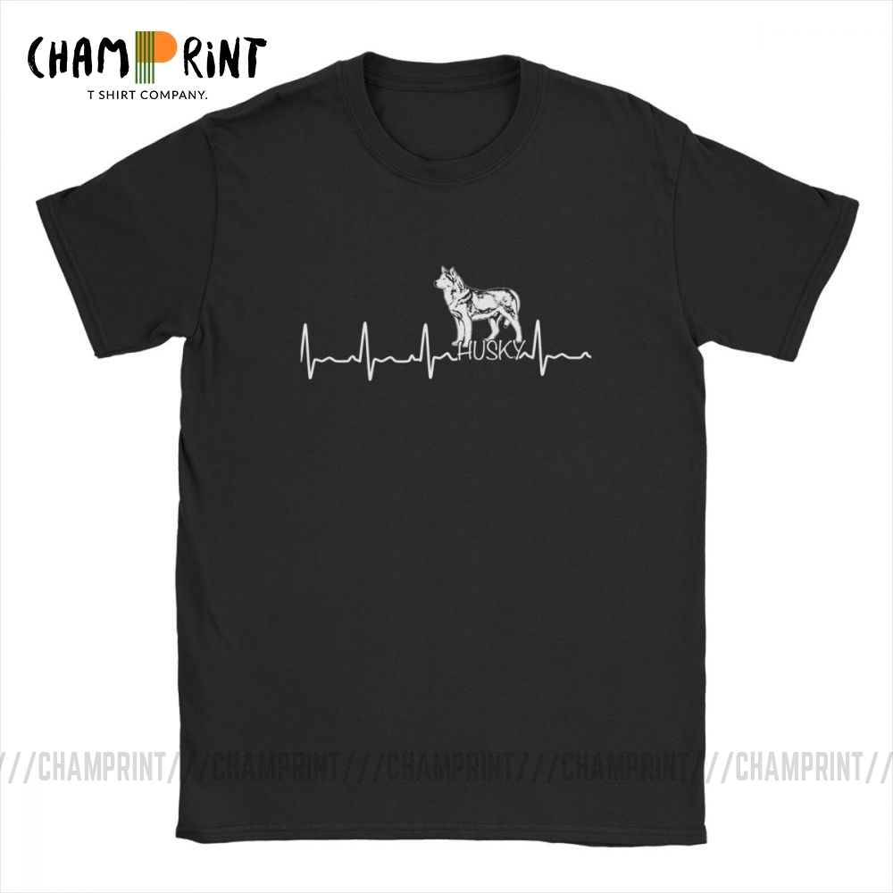 Men Heartbeat Husky T-Shirt Funny T Shirt For Dog Lover Crew Neck Short Sleeve Clothes Pure Cotton Tee 4X 5X