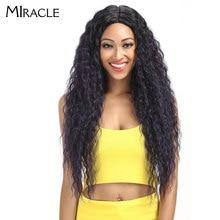 "Cabelo milagroso ombre peruca kinky encaracolado profunda parte do laço perucas 150 densidade longo 28 ""resistente ao calor perucas sintéticas para preto"