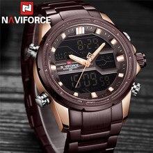 NAVIFORCE relojes deportivos digitales para hombre, reloj de pulsera masculino de acero inoxidable, LED, resistente al agua, militar, 9138
