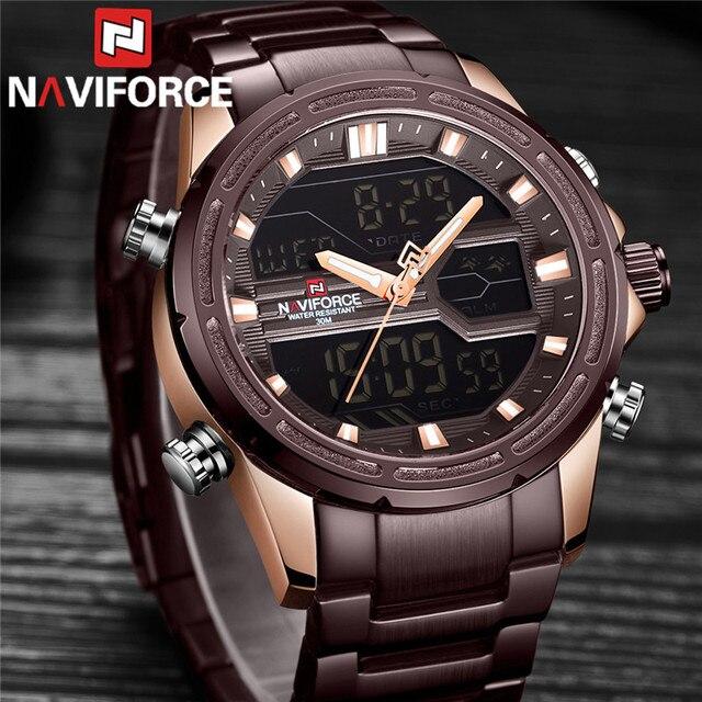 Naviforce relógios masculinos marca de luxo militar à prova dwaterproof água led digital esporte relógio masculino aço inoxidável 9138