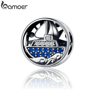 BAMOER Compass Round Metal Beads for Women Bracelet Bangle 925 Sterling Silver Zirconia Ship Charm for Silver Bracelet SCC1197