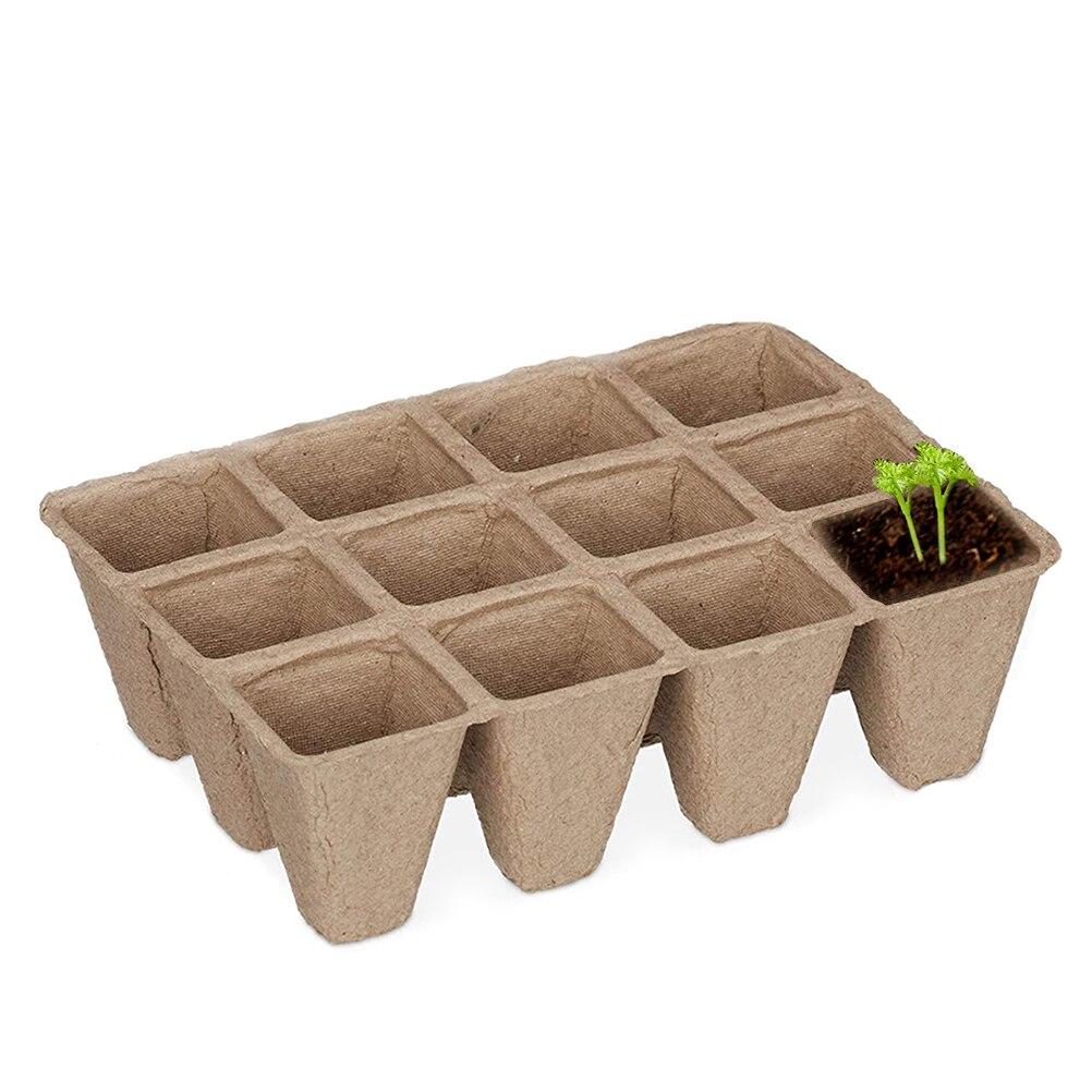 12-Hole Pulp Seedling Tray Disposable Nursery Tray Degradable Garden Planter Eco-Friendly Nursery Plates  Pulp Pots