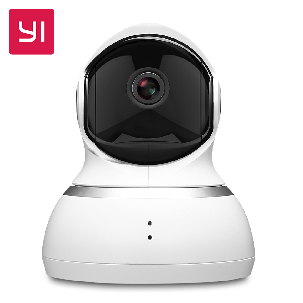 YI Dome Camera 1080P Pan / Tilt / Zoom Wireless IP Security Surveillance System Komplet 360 graders dækning Nattsyn Hvid