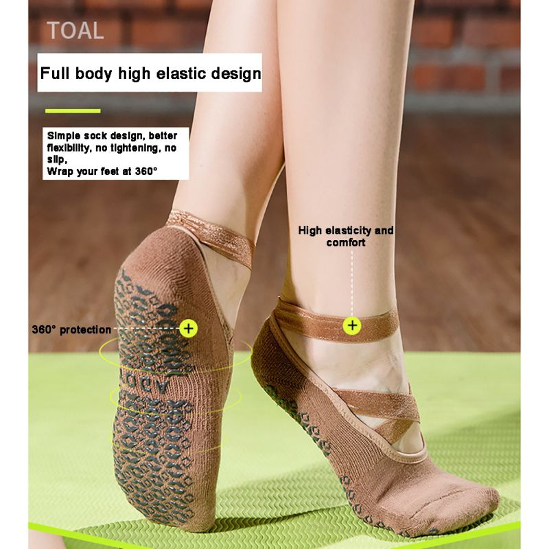 Non-Slip Grips Yoga Socks Women Cotton Pilates Ballet  Socks Breathable Dance Socks