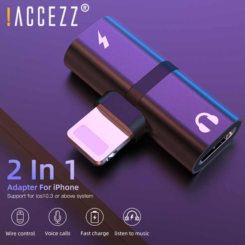 !ACCEZZ 2 In 1 Audio Adapter For Apple IPhone X XS XR 7 MAX Charger Adapter Converter Support Calling For IOS 10 11 12 Connector