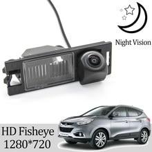 Owtosin hd 1280*720 fisheye câmera de visão traseira para hyundai ix35 2009 2010 2011 2012 2013 2014 2015 carro estacionamento reverso acessórios