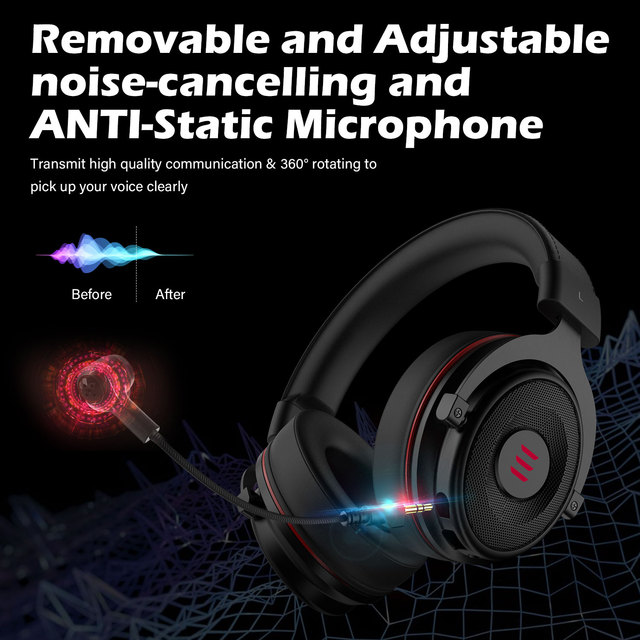 EKSA Gaming Headset with Microphone E900 Pro 7.1 Surround Headset Gamer USB/3.5mm Wired Headphones For PC PS4 Xbox one Earphones 4