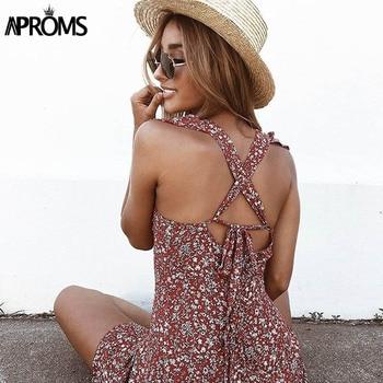 Aproms Wine Floral Print Boho Short Dress Women Backless High Waist Summer Dress Vintage Beach Dress Sundresses Vestidos 2020 2
