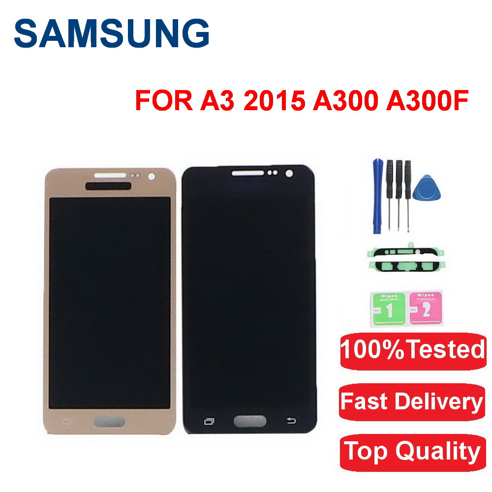 100%Tested For <font><b>Samsung</b></font> Galaxy A3 2015 <font><b>LCD</b></font> <font><b>A300</b></font> A300F A300M A300X A300H A300FU A300N <font><b>LCD</b></font> Touch Display Screen Digitizer Assembly image